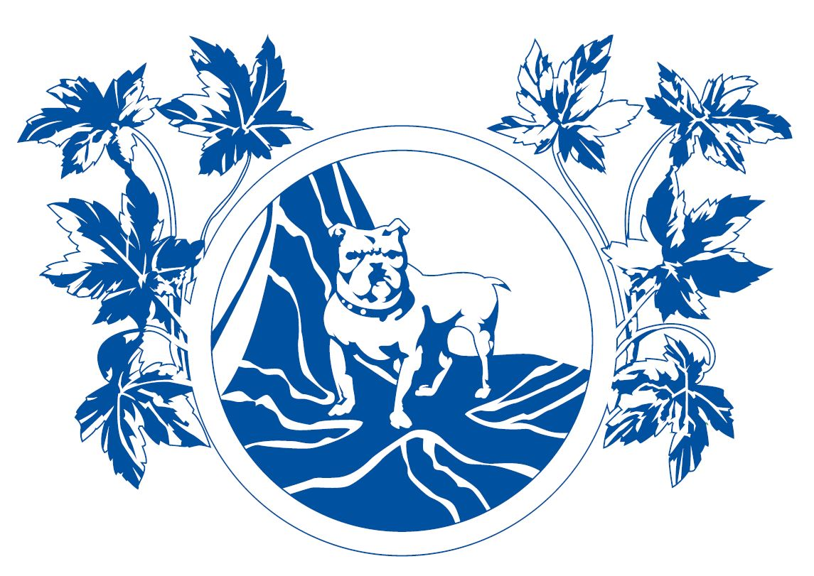 Original 1903 logo for Empire Brass. A bulldog standing on the British flag, surrounded by a circle and leaves.