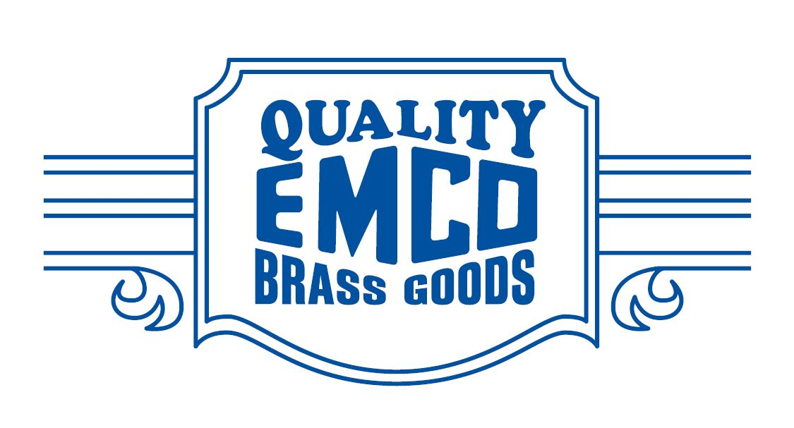 "1930 logo, stylized text saying ""Quality Emco Brass Goods"""