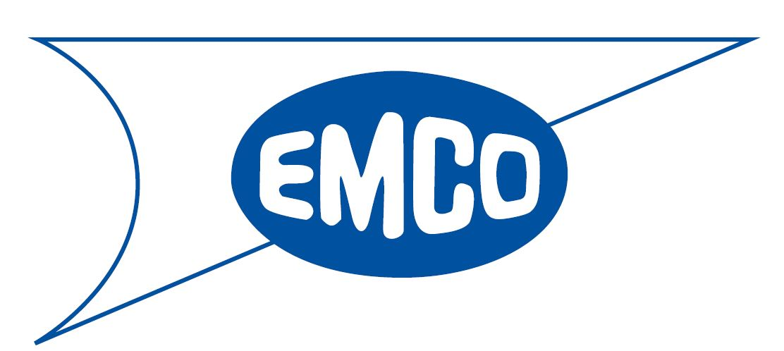 1957 logo, text spelling out Emco inside an oval set on top of a triangle