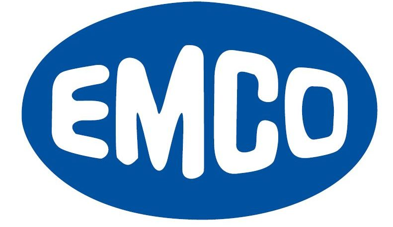 1970 logo, text spelling out Emco inside an oval