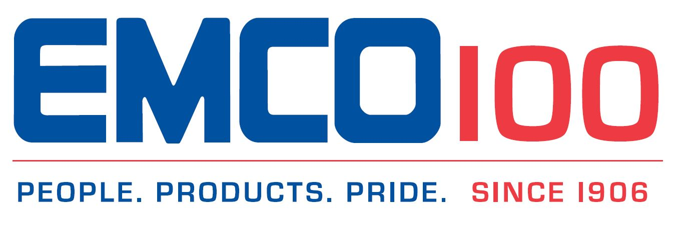 2003 logo, Emco 100 written above people, products, pride since 1906