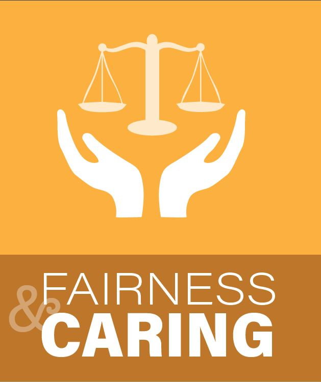 Fairness and Caring image of cupped hands holding a judicial scale