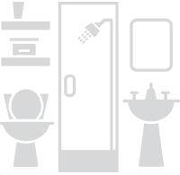 Image of a bathroom showing a toilet, pedestal sink and a shower